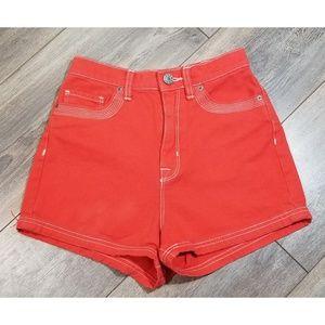 High waisted BDG Red Orange denim shorts size 24